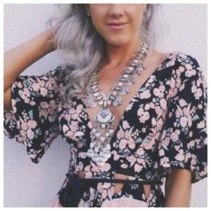NWT LF Furst of a Kind Floral Tie Crop Top